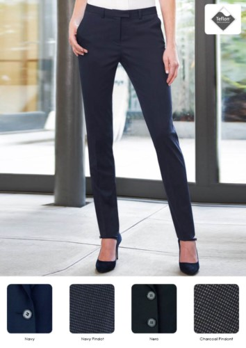 Elegant women's trousers in polyester and viscose, in stain-resistant fabric. Ideal for receptionists, hostesses, hoteliers. Wholesale.