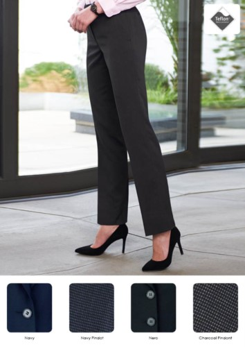 Elegant women's trousers in polyester, viscose and elastane, stain-resistant Teflon fabric.  Ideal for receptionists, hostesses, hoteliers.