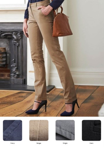 Elegant slim-fit trousers in cotton and elastane. Various colors available. Ideal for receptionists, hostesses, hoteliers. Wholesale.