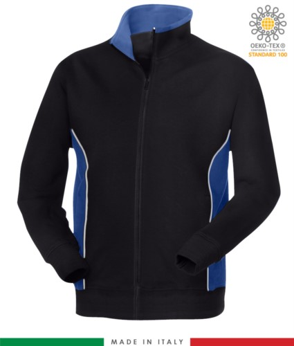 work sweatshirt long zip navy blue with royal blue band made in italy