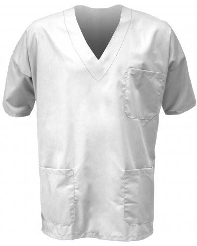 Unisex hospital jacket, V-neck, short sleeves, left chest pocket and applied right front pocket, color white