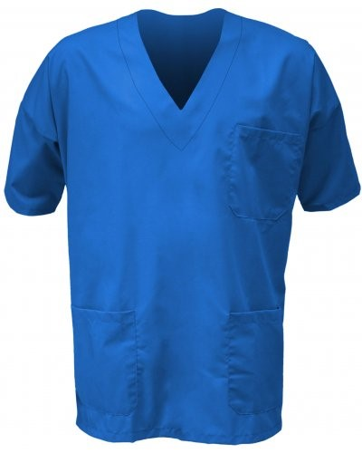 Unisex hospital jacket, V-neck, short sleeves, left chest pocket and applied right front pocket, color bluette