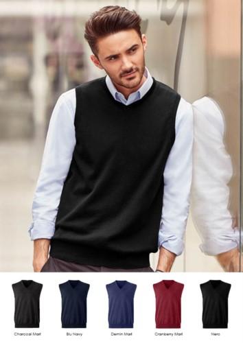 V-neck unisex vest, classic cut, cotton and acrylic fabric. Wholesale of elegant work uniforms.