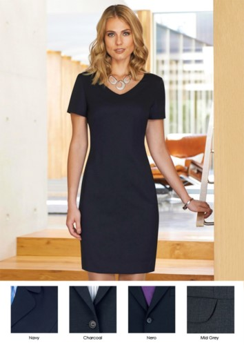 Dress for professional use (e.g.: promoter, receptionist, hotellerie) with stain-resistant polyester and wool fabric.