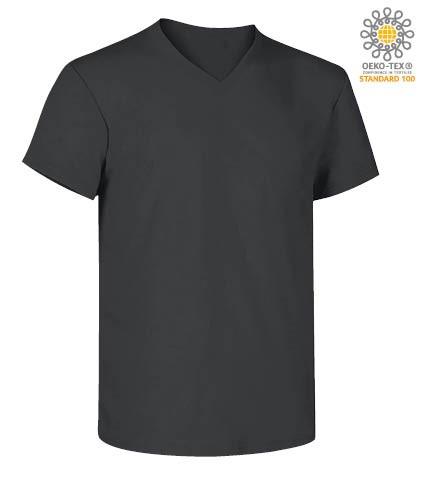 V-neck short-sleeved T-shirt in cotton. Colour Dark grey
