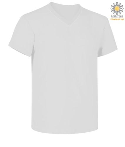 Short sleeve V-neck T-shirt, color white