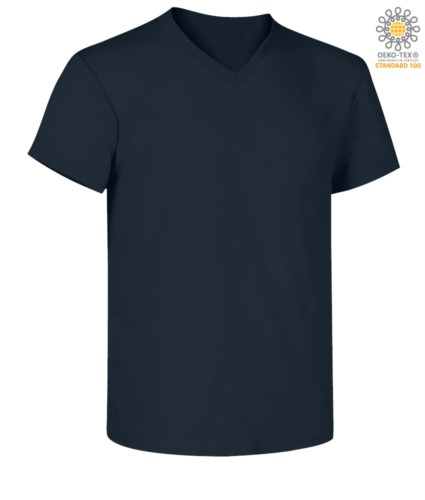Short sleeve V-neck T-shirt, color navy blue