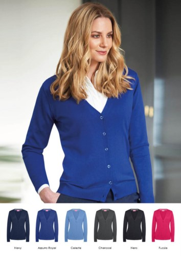Women V-neck cardigan, long sleeves, ribs, hem and cuffs, cotton and acrylic fabric