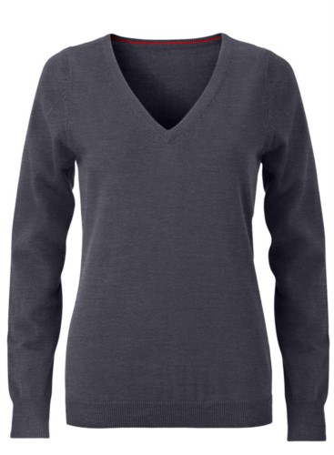 V-neck sleeveless sweater for women with elastic ribbed neckline and cuffs, 100% cotton knitted fabric. Color anthracite melange