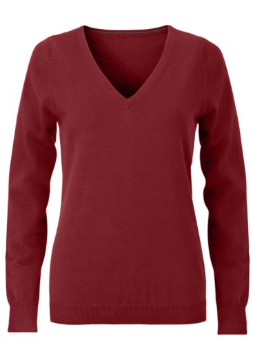 V-neck sleeveless sweater for women with elastic ribbed neckline and cuffs, 100% cotton knitted fabric. Color burgundy