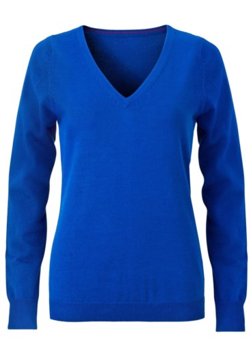 V-neck sleeveless sweater for women with elastic ribbed neckline and cuffs, 100% cotton knitted fabric. Color royal blue