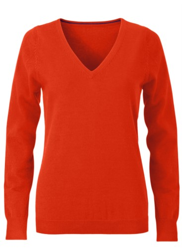 V-neck sleeveless sweater for women with elastic ribbed neckline and cuffs, 100% cotton knitted fabric. Color orange