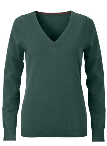 V-neck sleeveless sweater for women with elastic ribbed neckline and cuffs, 100% cotton knitted fabric. Color forest green