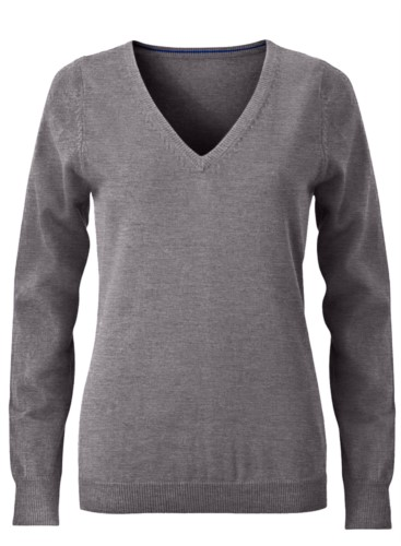 V-neck sleeveless sweater for women with elastic ribbed neckline and cuffs, 100% cotton knitted fabric. Color grey