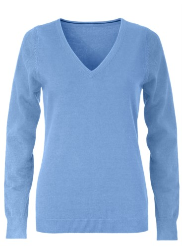 V-neck sleeveless sweater for women with elastic ribbed neckline and cuffs, 100% cotton knitted fabric. Color sky blue
