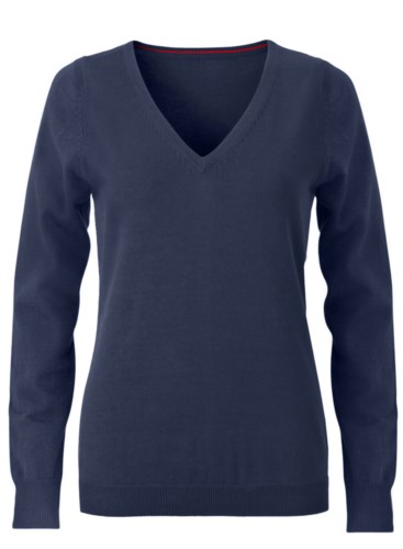 V-neck sleeveless sweater for women with elastic ribbed neckline and cuffs, 100% cotton knitted fabric. Color navy blue
