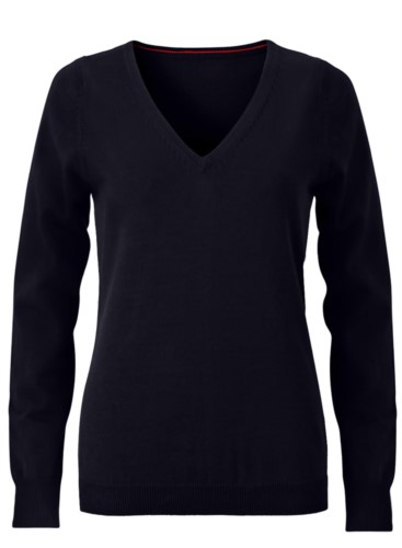 V-neck sleeveless sweater for women with elastic ribbed neckline and cuffs, 100% cotton knitted fabric. Color black