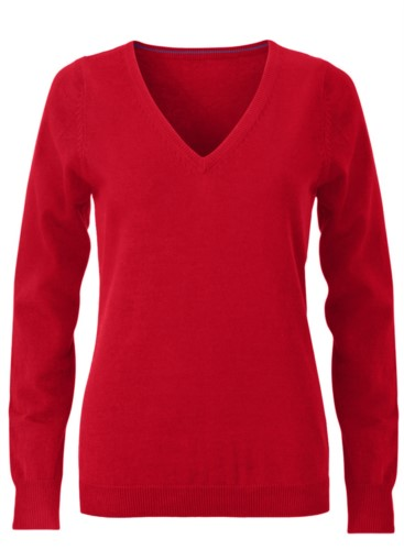 V-neck sleeveless sweater for women with elastic ribbed neckline and cuffs, 100% cotton knitted fabric. Color red