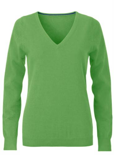 V-neck sleeveless sweater for women with elastic ribbed neckline and cuffs, 100% cotton knitted fabric. Color green