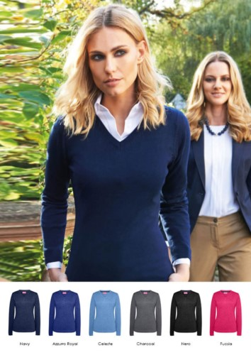 Women V-neck sweater, long sleeves, ribbed neck and cuffs, cotton and acrylic fabric