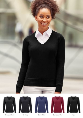 Women V-neck sweater with ribbed neck and cuffs, seamless, cotton and acrylic fabric