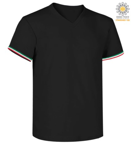 Short-sleeved T-shirt, V-neck, Italian tricolour on the bottom sleeve, color navy blue