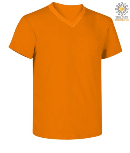 Short sleeve V-neck T-shirt, color orange