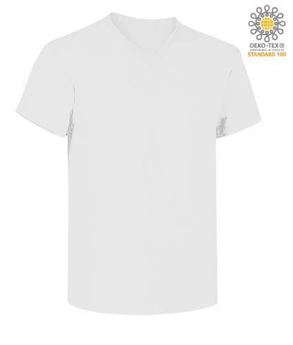 V-neck short-sleeved T-shirt in cotton. Colour white