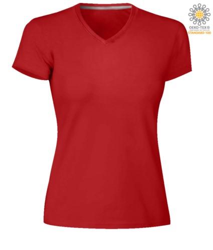 Short sleeve V-neck T-shirt, color red