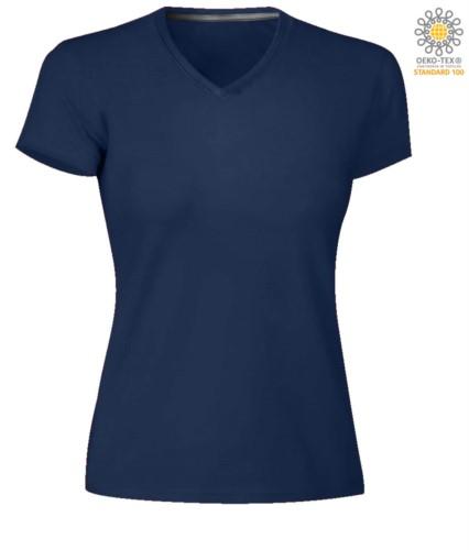 Short sleeve V-neck T-shirt, color navy blue