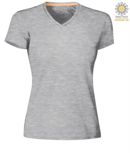Short sleeve V-neck T-shirt, color melange grey