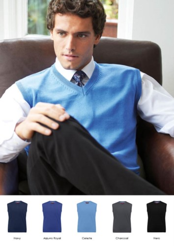 Men vest with V-neck, sleeveless, cotton and acrylic fabric. Wholesale of elegant work uniforms.