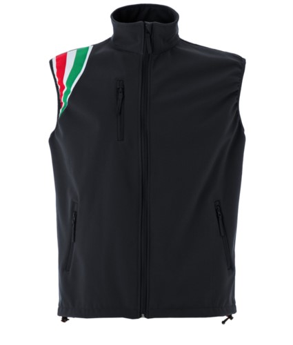 black polyester waterproof and breathable soft shell vest