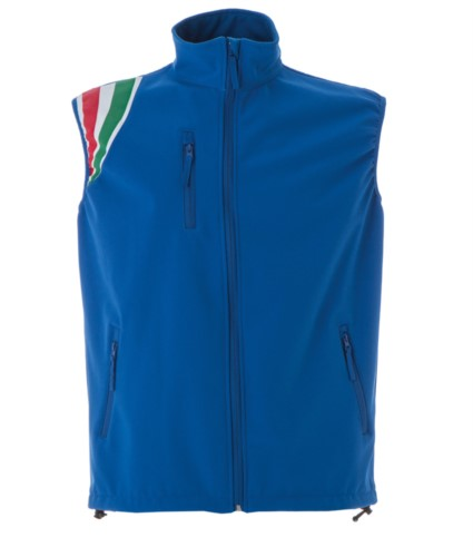 royal blue polyester waterproof and breathable soft shell vest