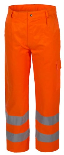 High visibility winter pants, multi-pocket, double reflective band at the bottom of the leg, certified EN 20471, color orange
