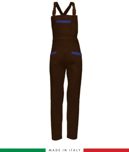 Two tone dungarees. Possibility of personalized production. Made in Italy. Multipockets. Color: brown/royal blue