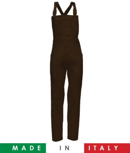 Two tone dungarees. Possibility of personalized production. Made in Italy. Multipockets. Color: brown