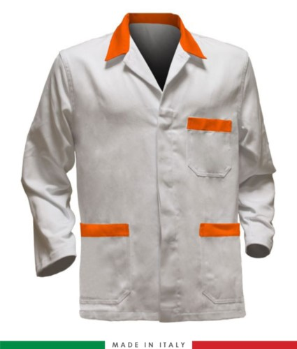 white work jacket with orange inserts, polyester fabric and cotton
