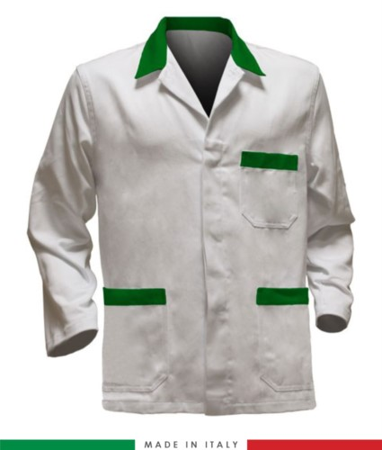 white work jacket with green inserts, polyester fabric and cotton