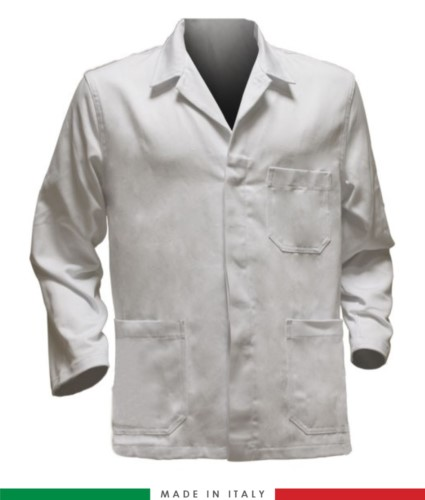 white work jacket, polyester fabric and cotton