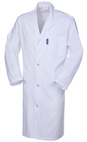 Men coat, long sleeve, button closure, applied pocket, two side pockets, elastic cuffs, white, CE certified, white colour