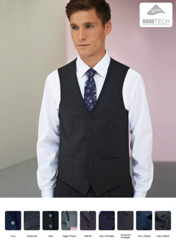Elegant uniform vest in polyester and wool, polyester and wool fabric with stain-resistant treatment. Wholesale.