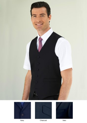 Elegant uniform vest in polyester and viscose available in Navy, Charcoal, Black. Ideal for uniforms of porter, hotel, receptionist.