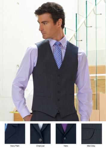 Elegant polyester and wool uniform vest available in Navy, Black, Charcoal, Mid Greyo. Ideal for uniforms of porter, hotel, receptionist.