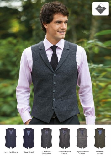 Elegant uniform vest in wool and polyester and Teflon finishes. Ideal for concierge, hotel and receptionist uniforms.