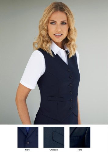 Women vest with six button closure and two side pockets.