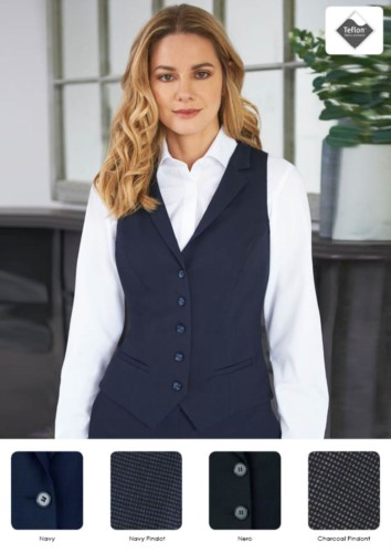 Women's vest with four button closure and two slanted pockets. Teflon stain-resistant fabric