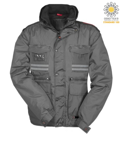 Women ripstop padded jacket, multi pocket with detachable sleeves and hood. One badge pocket, reflective bands on pockets and back. Colour: Grey