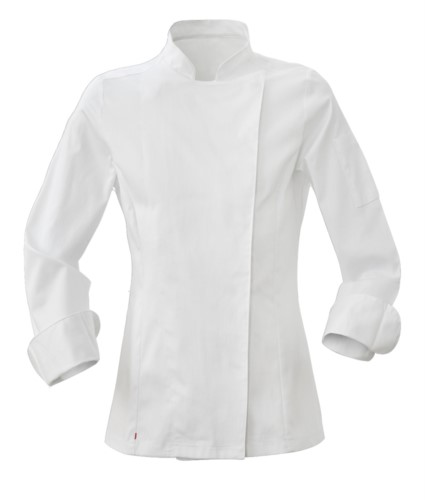 Chef jacket, snap closure, slim fit, color white