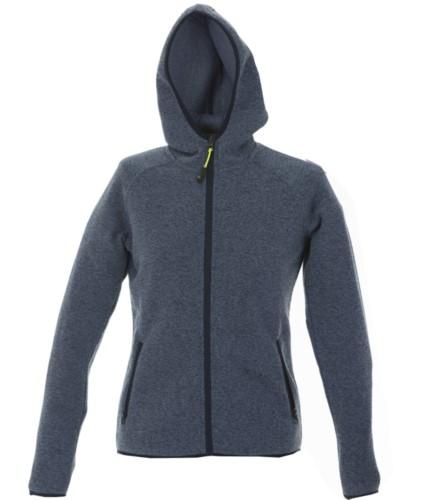 Women fleece hooded zip long knitted fleece. Color: light blue
